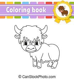 silhouette., character., livre, dessin animé, style., vecteur, isolé, arrière-plan., kids., illustration., page, blanc, noir, fantasme, gai, coloration, mignon, children., contour