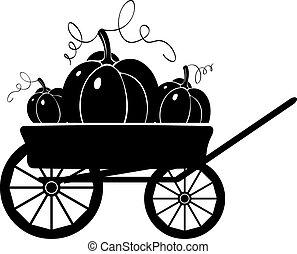 silhouette, charrette, pumpkins.