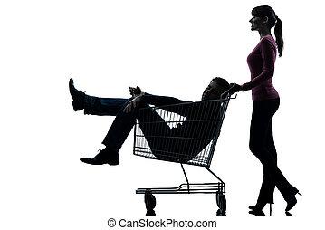 silhouette, charrette, séance, homme, achats, femme, couple