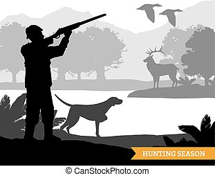 silhouette, chasse, illustration