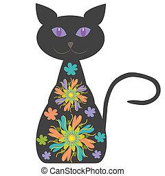 silhouette, chat, clair, conception, fleurs, ton