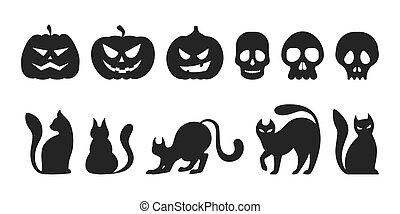 silhouette, chat, halloween, set., citrouille, collection, noir