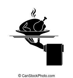silhouette, chaud, rôti, plat, monochrome, poulet, plateau