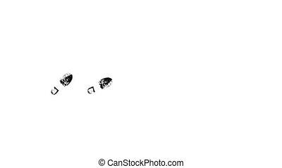 silhouette, chaussures, animation., imprimer, noir, soles