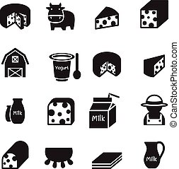 Silhouette Cheese icons set