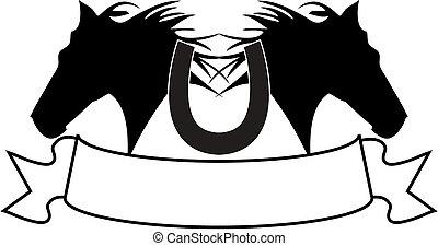 silhouette, Cheval, bannière