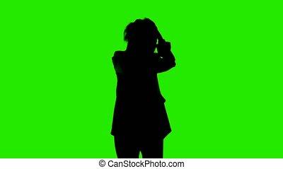 silhouette, cheveux, veste, vert, vidéo, complet, femme, ...