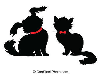 silhouette, chien, chat