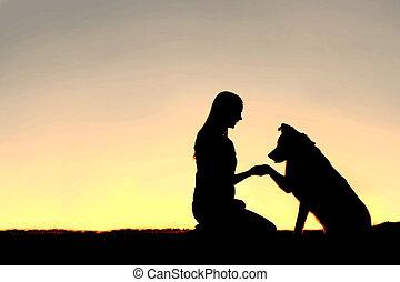 silhouette, chien, chouchou, coucher soleil, secousse, femme, mains, jeune