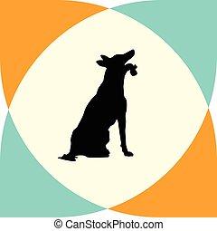 silhouette, chien