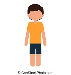 silhouette child with t-shirt and shorts without face