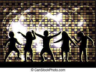 silhouette, children., ballo