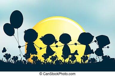 Silhouette children holding hands in park