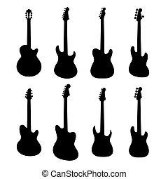 silhouette, chitarre