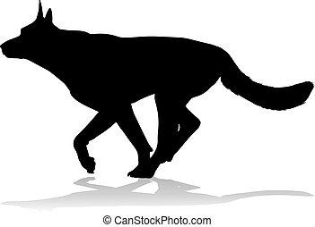 silhouette, chouchou, chien, animal