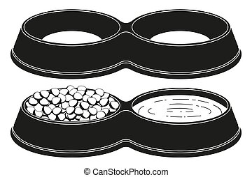 silhouette, chouchou, set., bol, nourriture, 2, sections