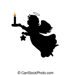 Silhouette christmas angel candle star