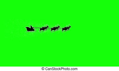 Silhouette christmas santa claus flying by on reindeer. Green screen