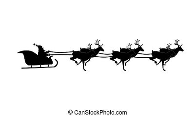 Silhouette Christmas Santa Claus flying in his sleigh with Christmas gifts pulled by his reindeer. Animation Video, Looping.