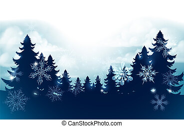 Silhouette Christmas Trees Snow Scene Background