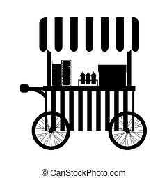 silhouette, cibo, caldo, camion, cani, icona