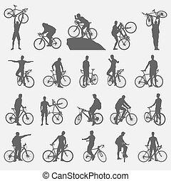 silhouette, ciclisti, set