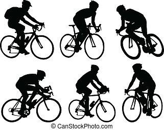 silhouette, ciclisti