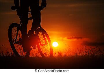 silhouette, ciel, vélo, coucher soleil, fond, pendant