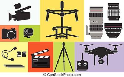 silhouette, cinéma, photo, métrage, illustration, bourdon, équipement, vecteur, professionnel, technologie, icône