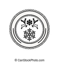 silhouette circular border with reindeer and snowflake christmas