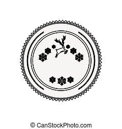 silhouette circular border with snowflake christmas ande reindeer