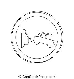silhouette circular contour road sign with tow truck