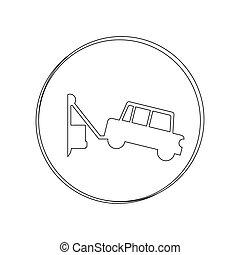 silhouette circular contour tow truck