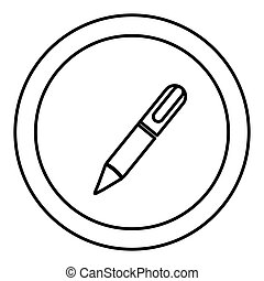 silhouette circular frame with silhouette pen icon