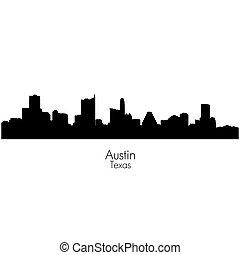 silhouette, città, orizzonte, vettore, capitale, austin, texas