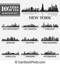 silhouette, città, set, di, stati uniti, 1