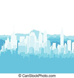 Silhouette city and mountains on white background.