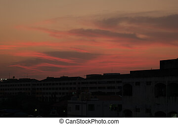 silhouette City and Twilight sky background