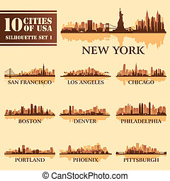 Silhouette city set of USA 1 on brown. Vector illustration