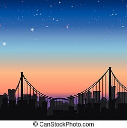 Silhouette city view with a bridge
