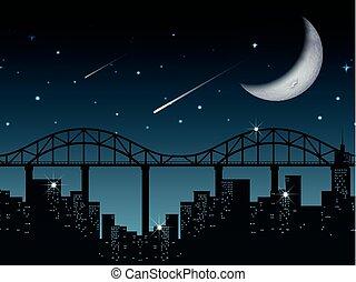 silhouette, cityscape, soir