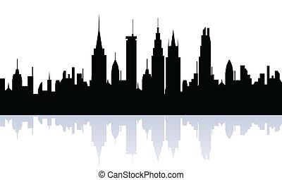 silhouette, cityview