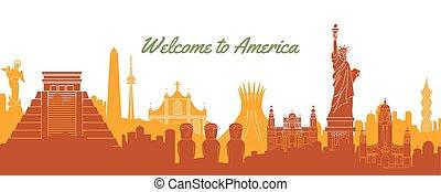 silhouette, classieke, bestemming, beroemd, ontwerp, oriëntatiepunt, amerika