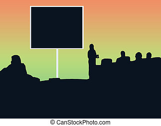 Silhouette Classroom w/orange and green background; could be...