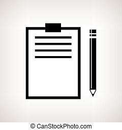 Silhouette clipboard with a pencil  , vector illustration