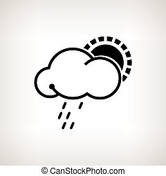 Silhouette cloud with sun and rain , vector illustration