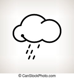Silhouette cloud with the rain , vector illustration -...