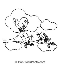 silhouette cloudscape with birds on branch with leaves