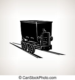 Silhouette coal mine trolley ,mining industry, coal mining,...
