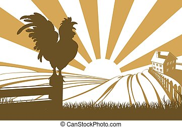 Silhouette cockerel crowing on farm - Rolling hills in a...